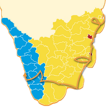Carte du circuit tamil nadu kerala