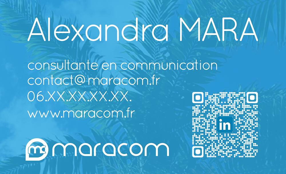 Carte de visite Alexandra MARA La Réunion maracom