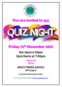 Quiz Night On Again - Friday 12 November