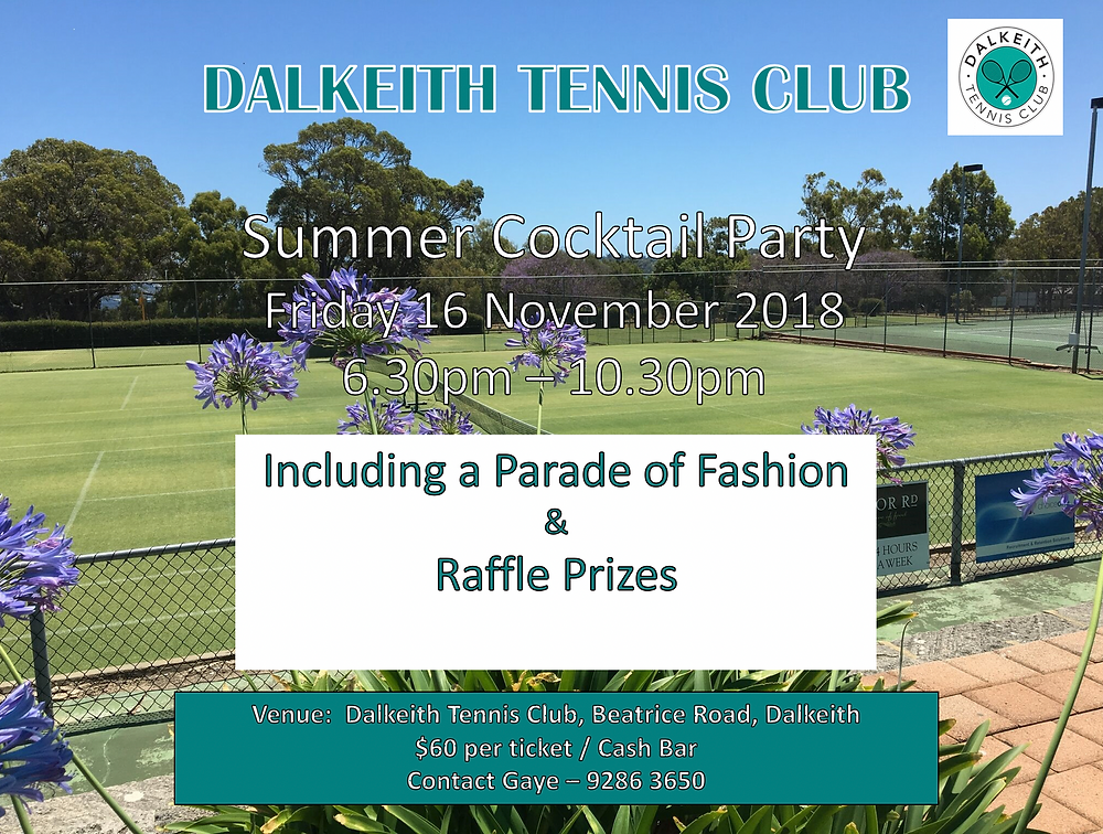 Dakeith Tennis Club Summer Cocktail Party - Friday 16 November