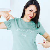 Born to Boogie baby designs woman sage t