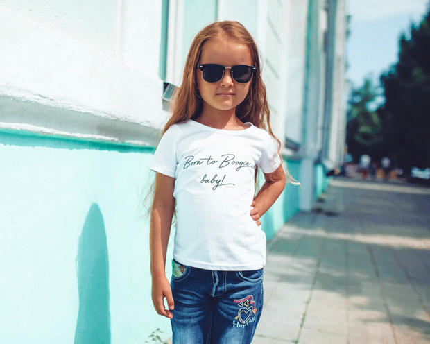 White T-Shirt Born to Boogie Designs You