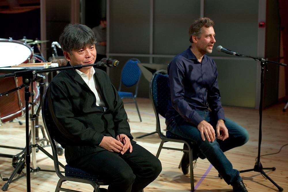"""AFEKT 2019"" nimiheliloojad Toshio Hosokawa ja Märt-Matis Lill. FOTO FESTIVALAFEKT"