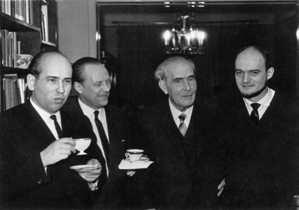 Arne Oit, Boris Kõrver, Heino Eller ja Arvo Pärt 1960. aastatel. FOTO ETMM