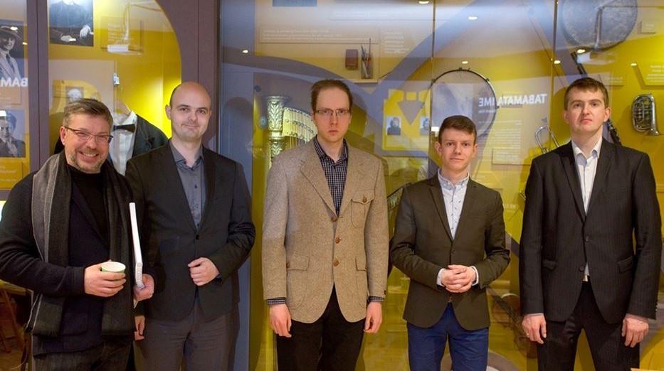 Olari Elts, Kristjan Hallik, Aare Tool, Taavi Hark ja Sten Lassmann 7. märtsil ETMM-is. FOTO MART LAUL / ETMM