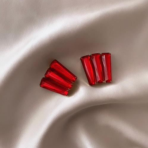 Boucles à clip strass rouges