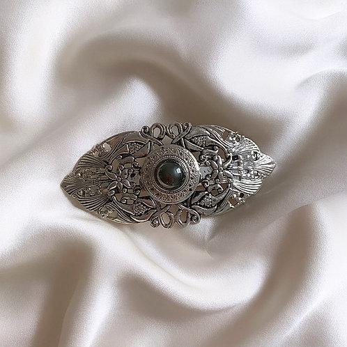 Barrette en métal argenté