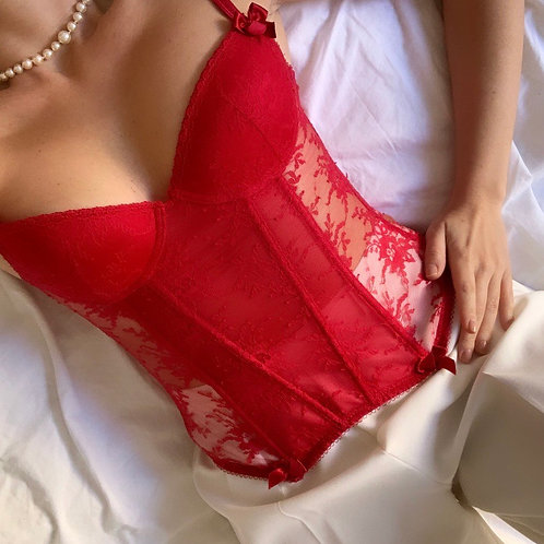 Red lace bustier