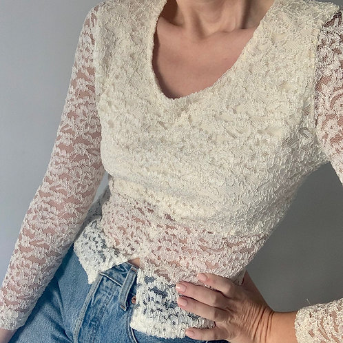 Lace cream top
