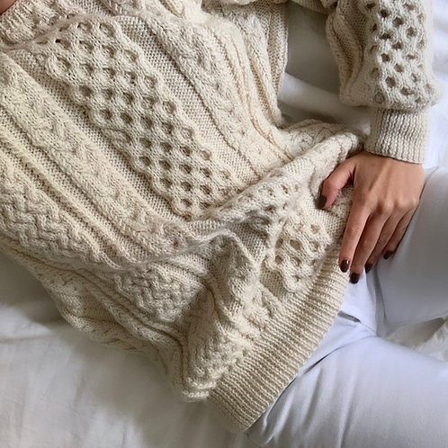 Vintage hand knit cream sweater