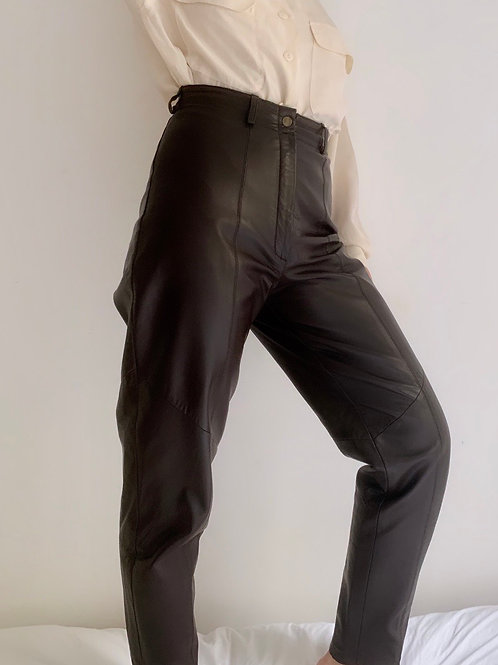 Chocolate leather pants