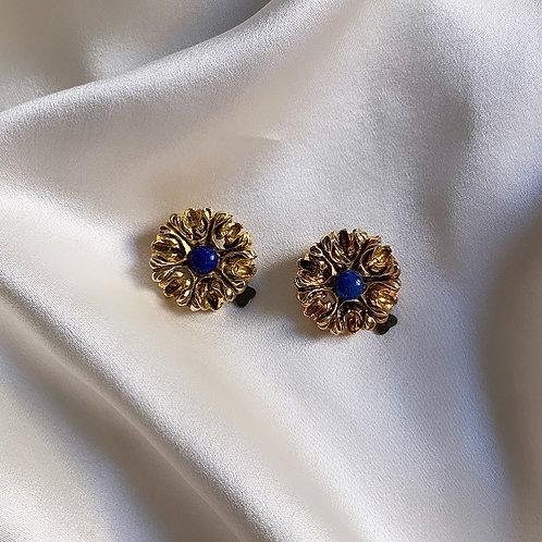 Boucles à clip pierre bleue