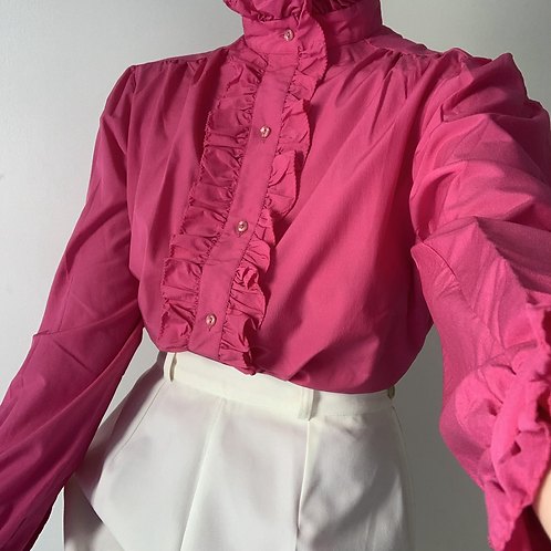 Pink shirt with frill