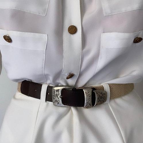 Leather & raffia belt