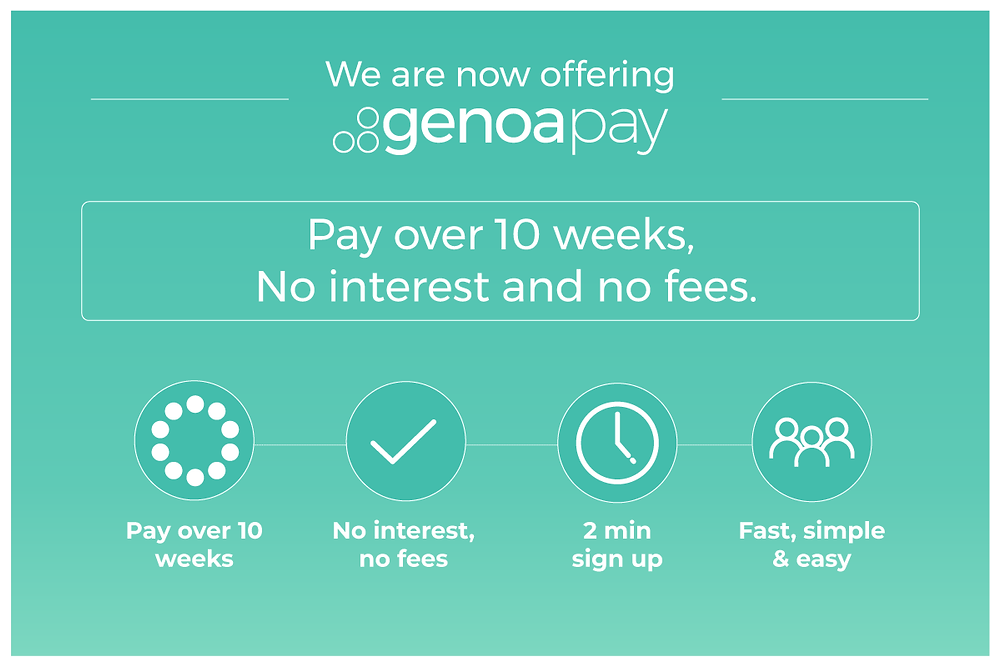 Lowthers are happy to announce that we are now offering Genoapay. Pay your invoice over 10 weeks with no interest or fees. Get pre-approved for up to $1000 today at www.genopay.com