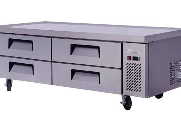 NSF 72″ Wide Refrigerated Chef Base with 76″ extended top - C-CB72-76-HC