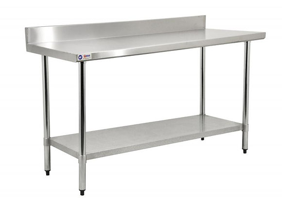 NSF 72″ X 30″ STAINLESS STEEL WORK TABLE WITH 4″ BACKSPLASH