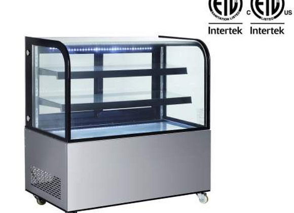 """NSF 48"""" Curved Glass Stainless Steel Refrigerated Bakery Display Case - ARC-370Y"""