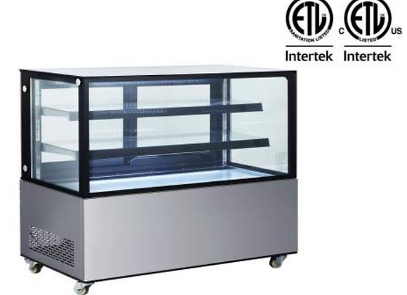 """NSF 60"""" Square Glass Stainless Steel Refrigerated Bakery Display Case - ARC-470Z"""