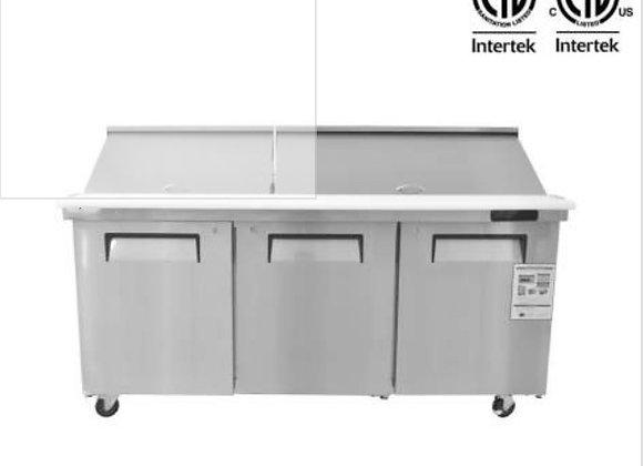 "NSF 72"" 3 Door Mega Top Refrigerated Salad/Sandwich Prep Table - KSR-72BM"