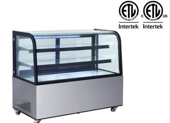 """NSF 60"""" Curved Glass Stainless Steel Refrigerated Bakery Display Case - ARC-470Y"""