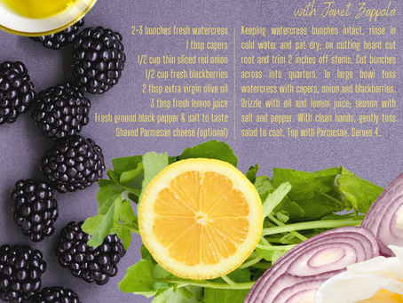 WATERCRESS SALAD with CAPERS, RED ONIONS & BLACKBERRIES