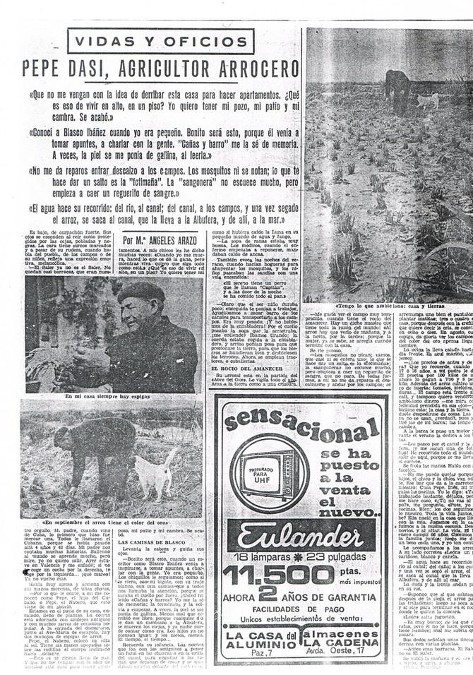 Pepe Dasí, agricultor arrocero. El Levante 1934