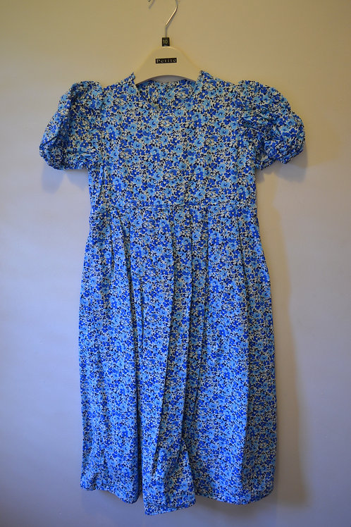 Blue floral dress with white Bloomers