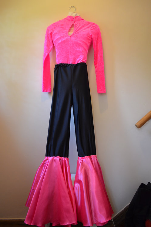 Neon Leotard with Black Neon Flare Trousers