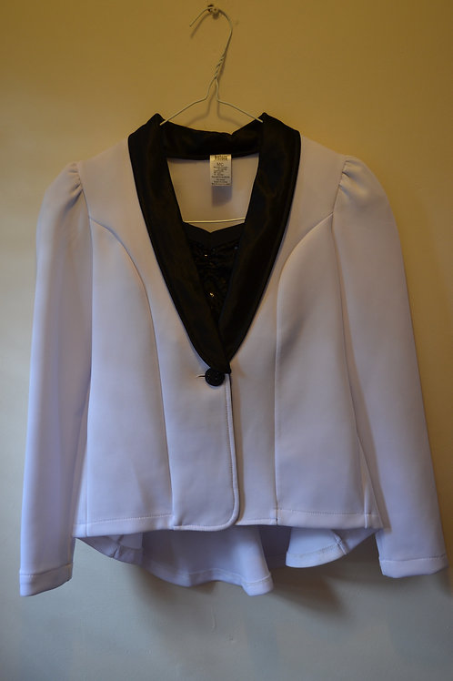 White Waistcaot with Black Sparkly Crop Top