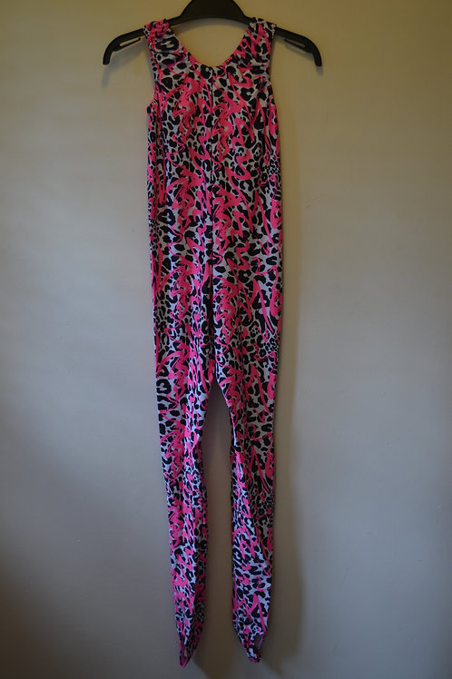 Pink and Black Patterned Catsuit