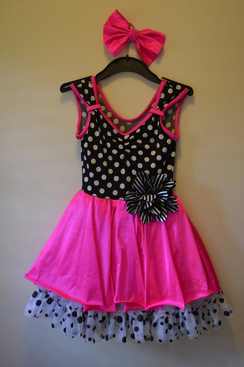 Polka Dot Bodice with Neon pink Skirt with net under