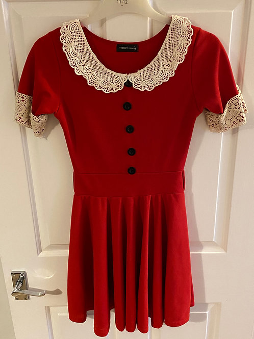 Red dress with Lace Collar and button detail