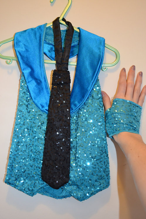 Sparkly Blue Waistcoat with Black Tie