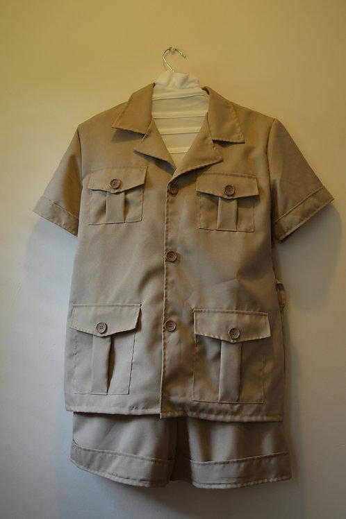 Tan Safari Shirt, Shorts & Hat