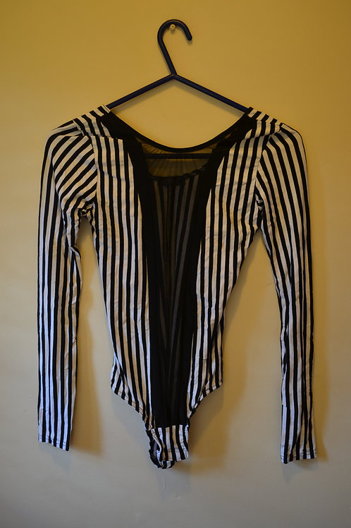 Long Sleeved Black & White Bodysuits with Mesh Panel x 2