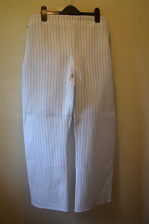 White Black Pinstripe Trousers