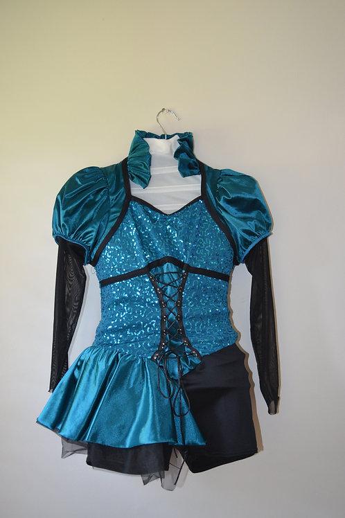 Turquoise/ Black Sequin Ruffle Unitard