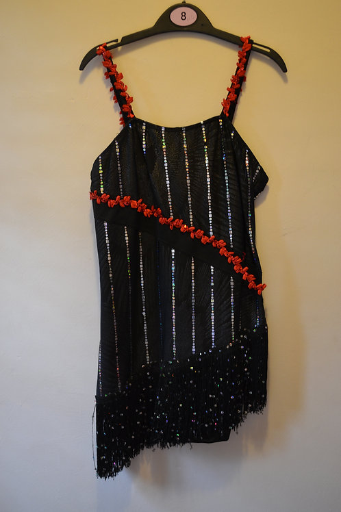 Black with Silver Strip Fringe Dress with Red Trim Detail