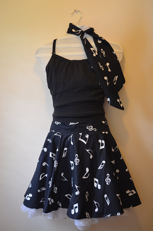 BlackSkirt with White Musical Notes comes with Neck Tie
