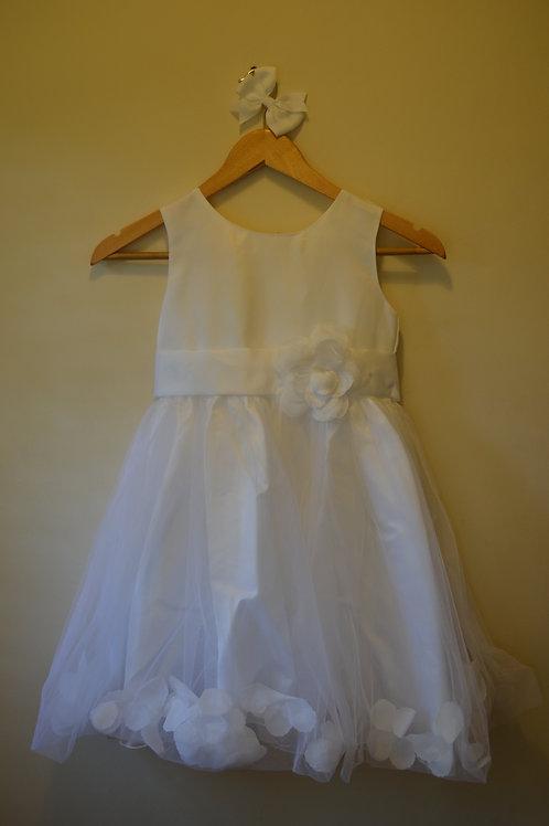 White Dress with White Flower Detail