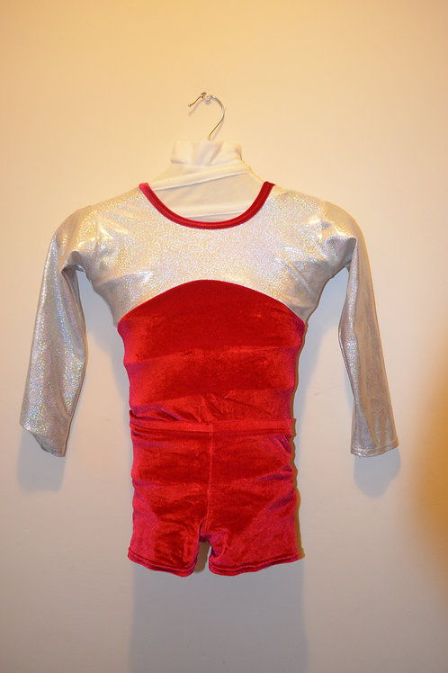 Silver Hologram and Red Velour Leotard and Hot pants