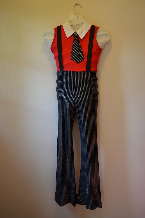 Red Top with Pinstripe bottoms matching Tie