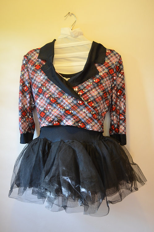 Red & Black Check 3/4 sleeved top with Black tutu Skirt