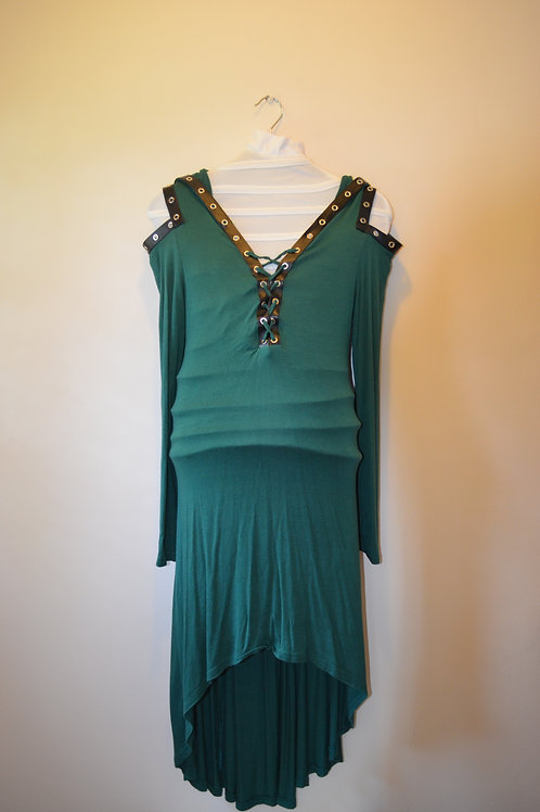 Green Dress with Black Trim and Hood