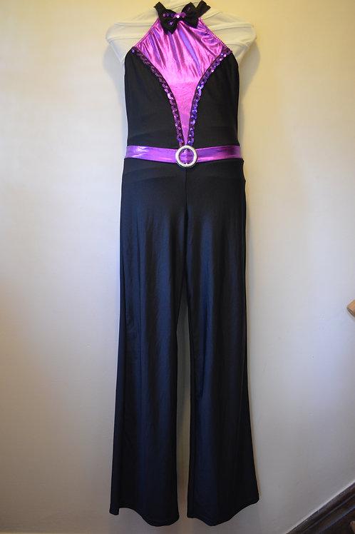 Halterneck Black Jumpsuit with Purple trim