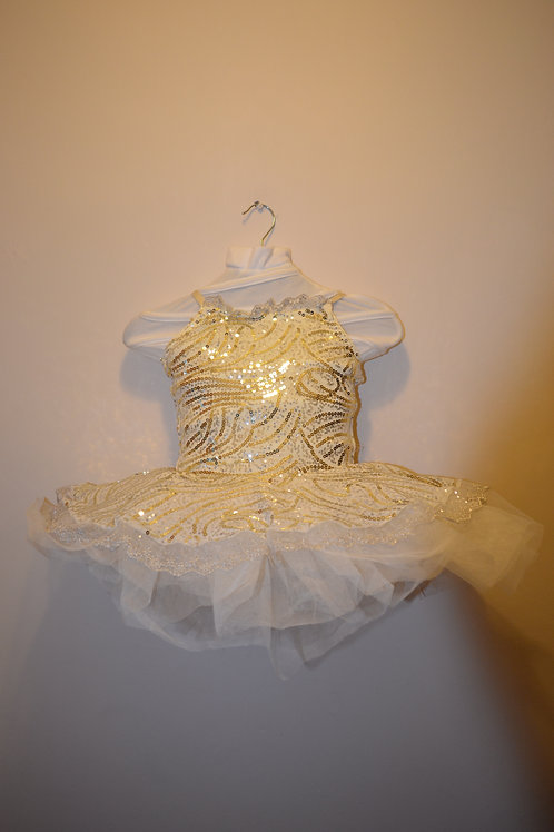 Sparkly Ivory Tutu with Silver and Gold sequin decoration