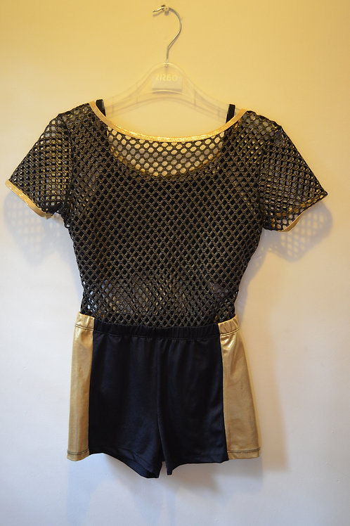 Mesh Top with built in crop top and Black with Gold Strip Shorts