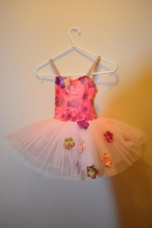 Velour Flower Print Body Tutu with Net Skirt