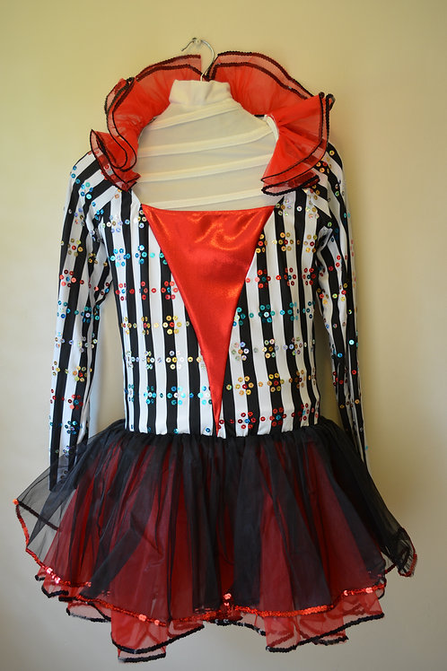 Black & White Stripy Body with Red & Black Tutu Skirt